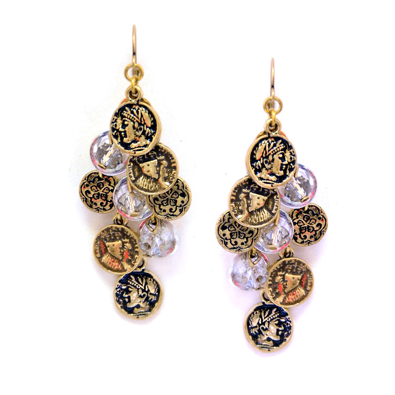 Dangling mini multi coin earrings