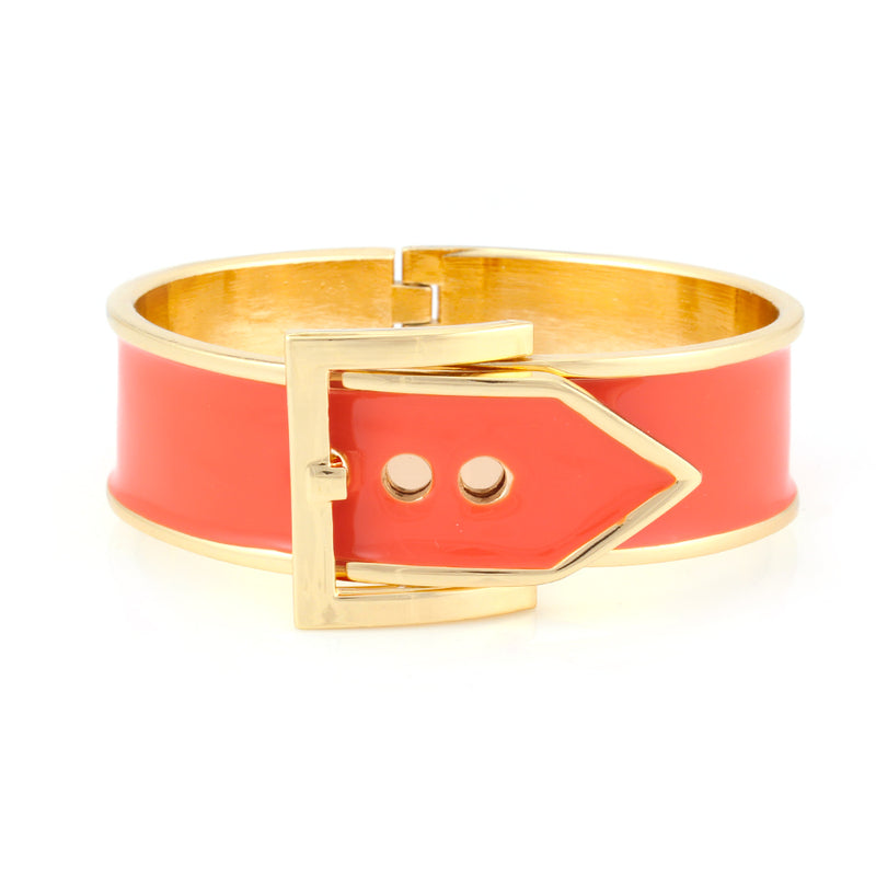 Gold-Tone Coral Buckle Hinged Bracelets