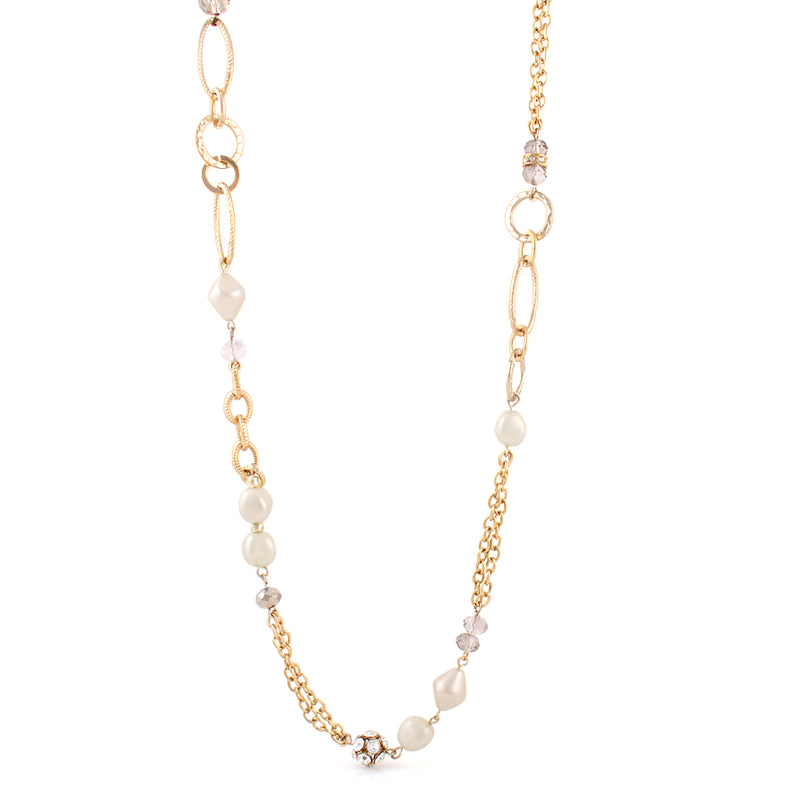 Gold-Tone Metal Cream  Crystal Necklace