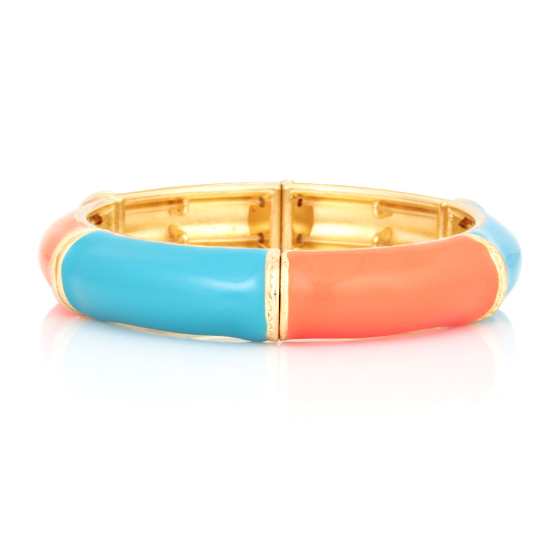 Gold Plated Turquoise And Coral Stretch Bracelet