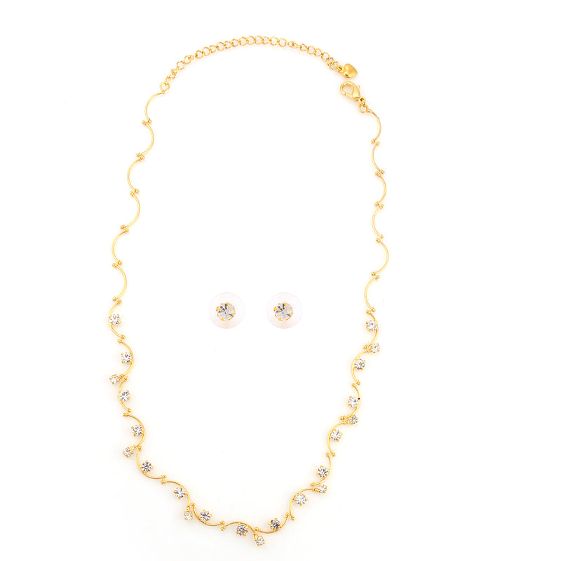 Gold-Tone Metal Crystal Neckalace And Earring Set