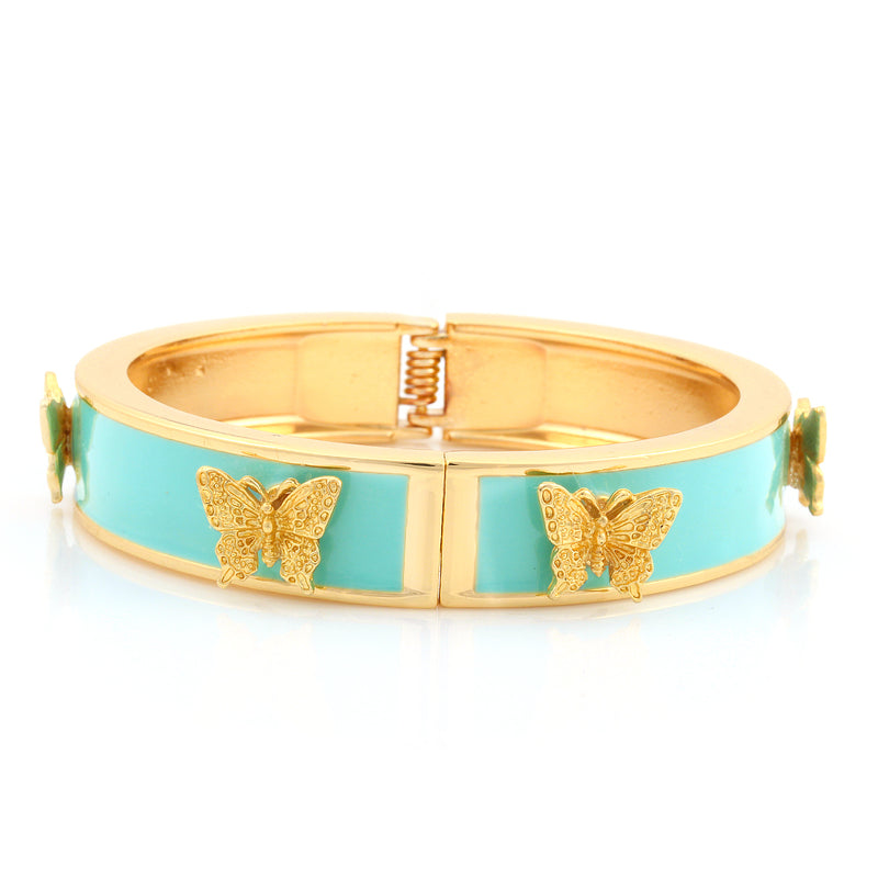 Gold-Tone Metal Mint Enamel Butterfly Hinged Bracelets