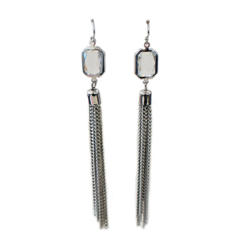Silver crystal earrings with silver tassle