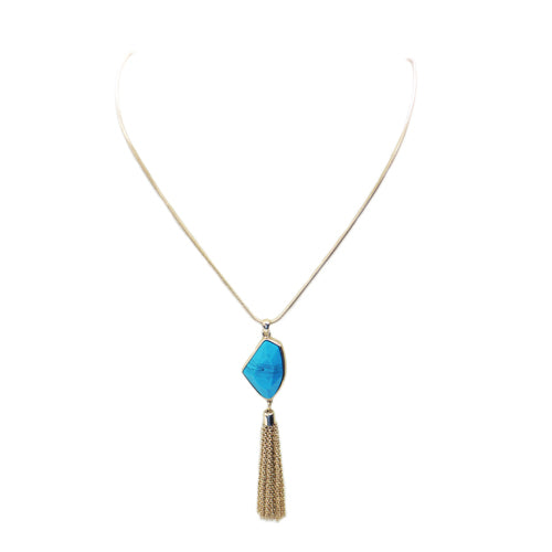 Long gold chain necklace with turquoise stone and gold tassle