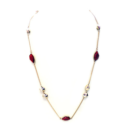 Long gold chain necklace with red pentagon shapes