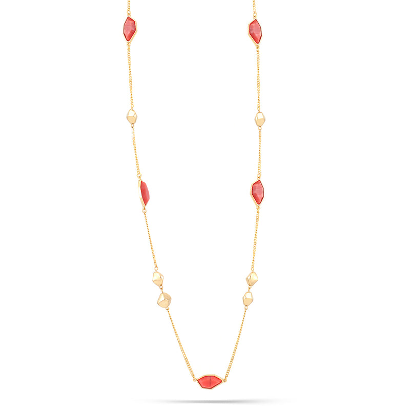 Gold-Tone Metal Coral Color Stone Necklace