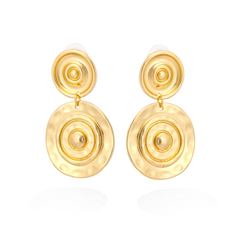 Gold-Tone Metal Round Earrings