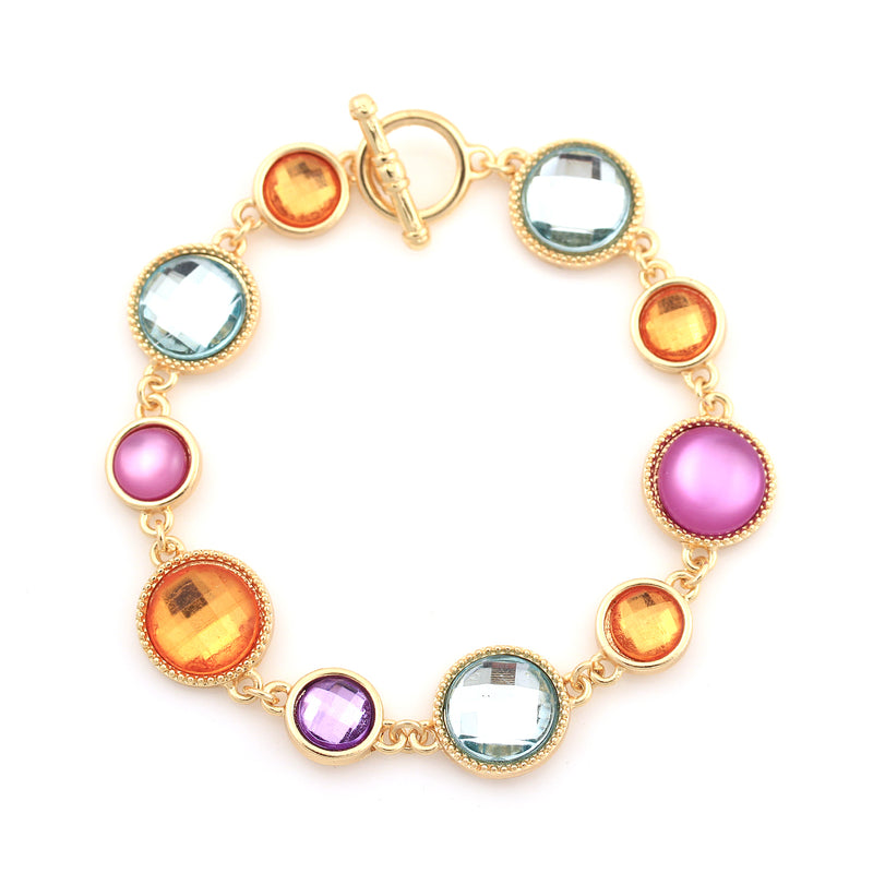 Gold-Tone Metal Multi Color Crystal Bracelets