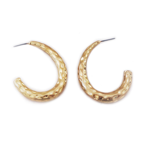 Half hoop gold hammered earrings