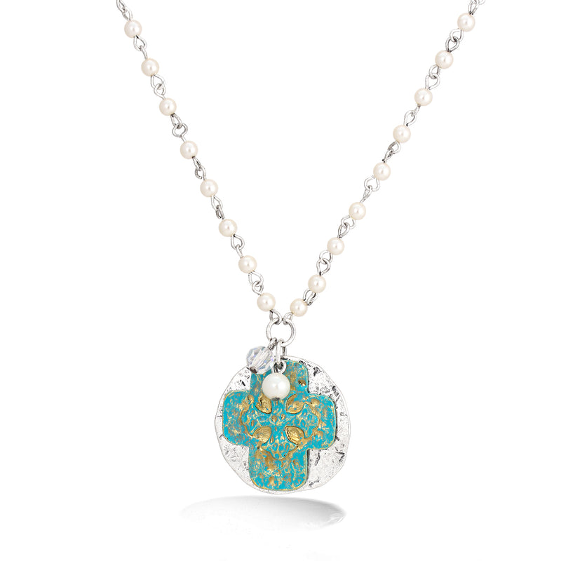 Silver-Tone Metal White Pearl Turquoise Cross Pendant Necklace