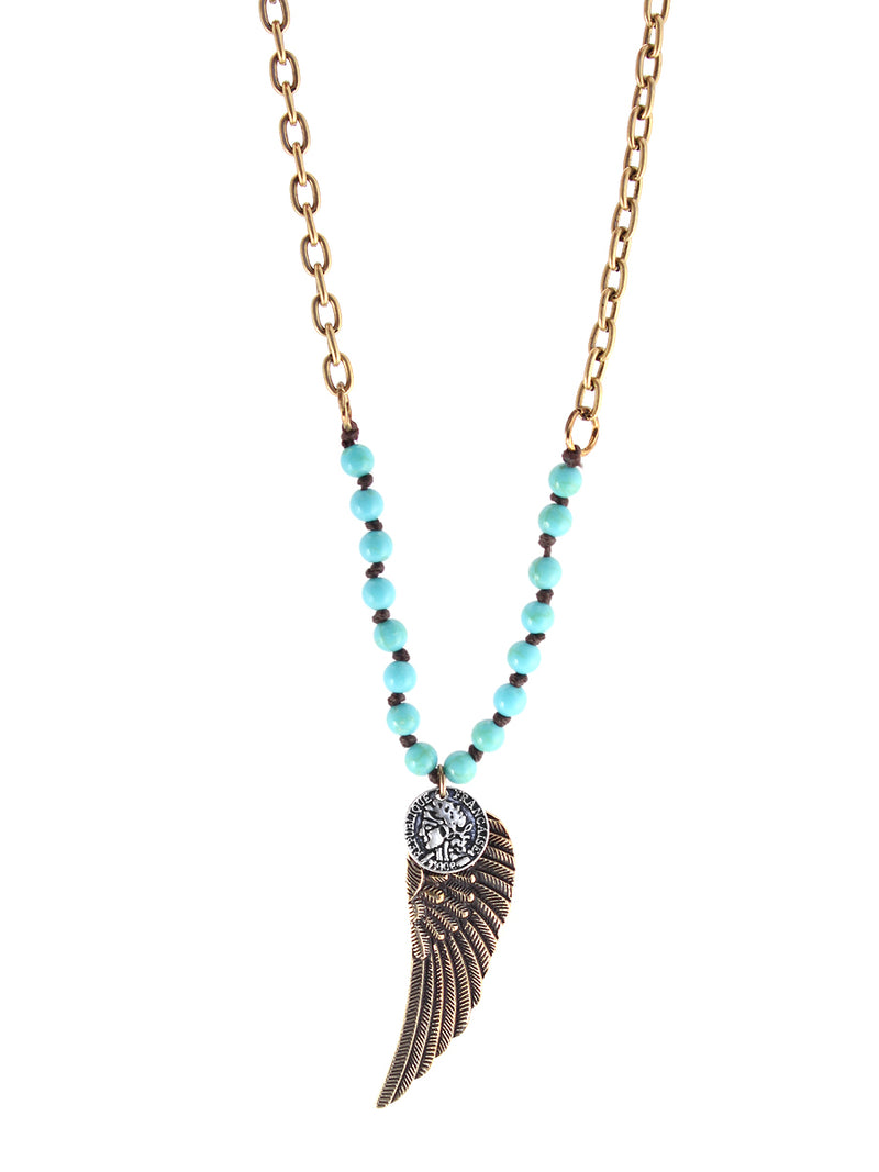 Gold-Tone Metal Turquoise Charm Necklace