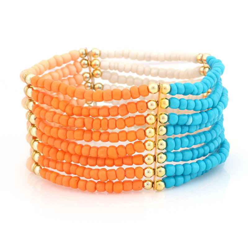 Multi Color Beaded  Stretch Bracelet