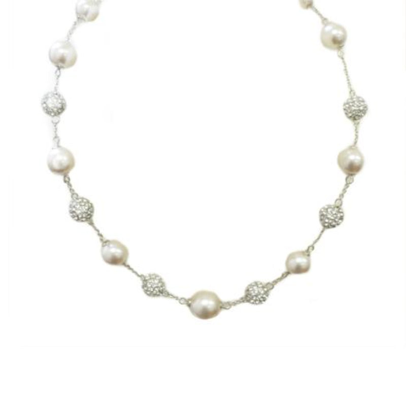 Off white pearl shambala necklace