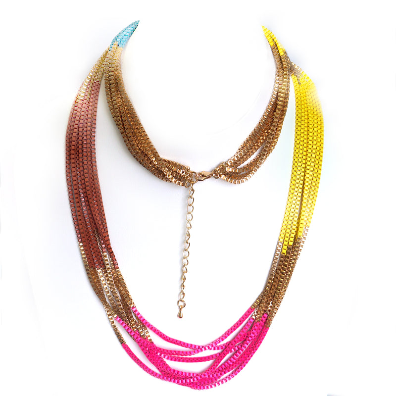 Multi colored long chain necklace
