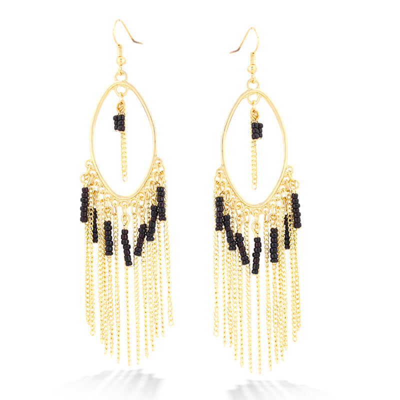 Gold-Tone Black Beads Tassel Earrings