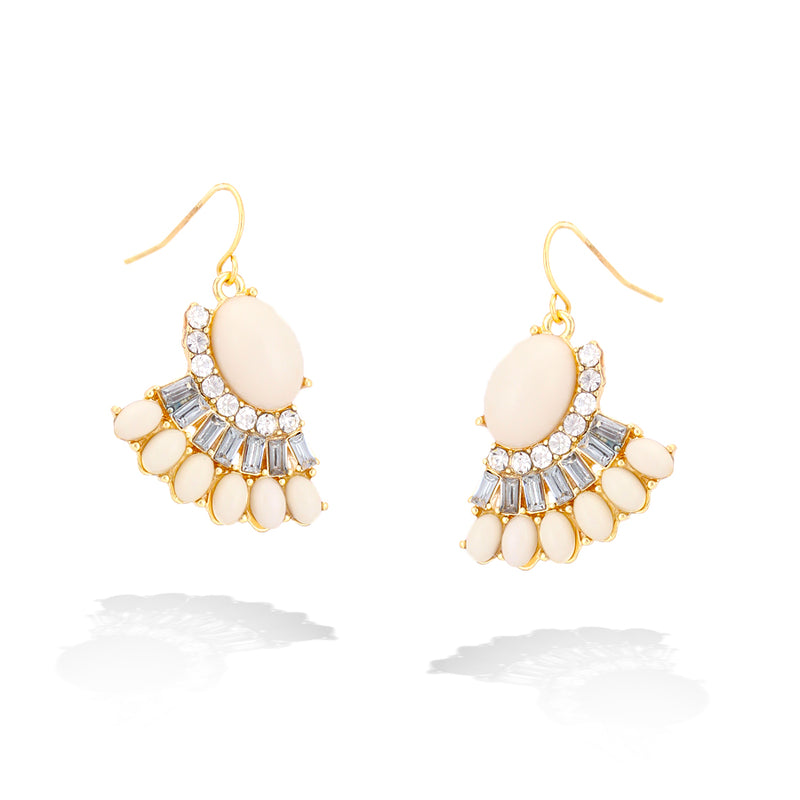 Tone Metal Cristal Cream Earrings
