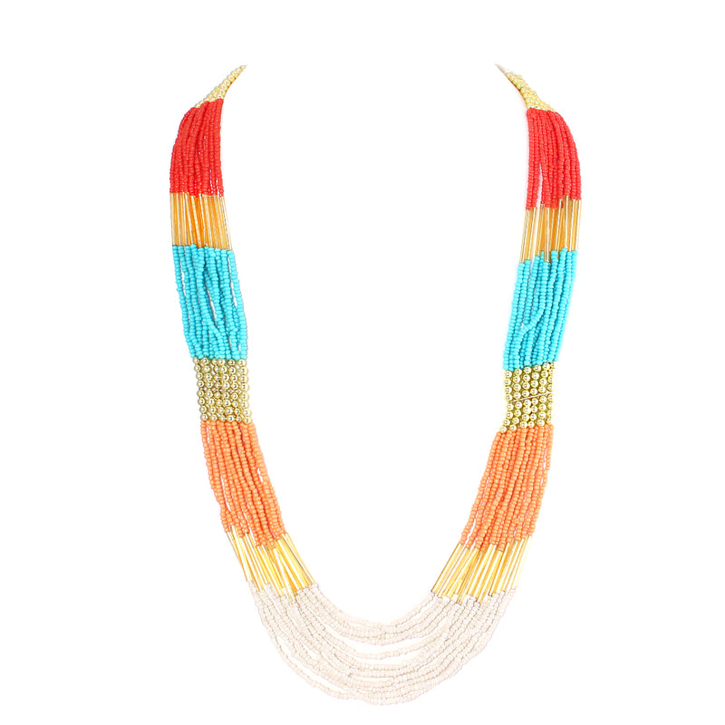 Multicolor Bead Gold Indian Long Necklace