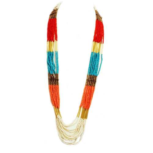 Multi-colored beaded long indian necklace