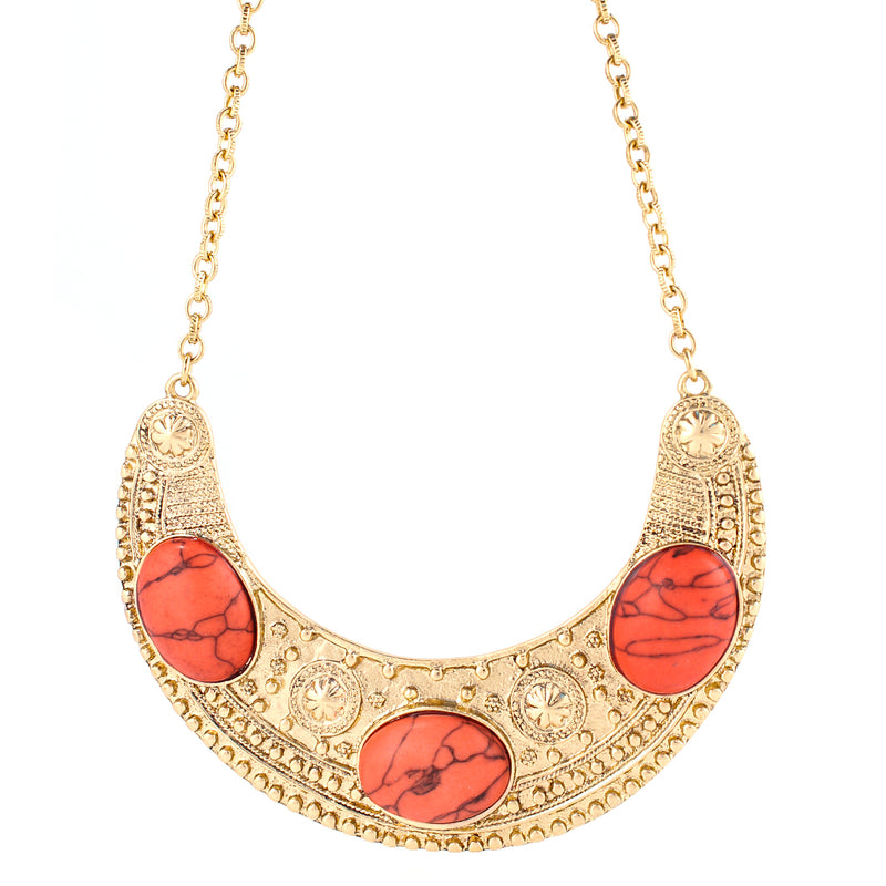 Coral And Gold Bib Necklace