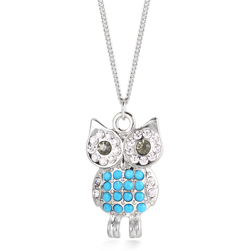 Silver Plated Turquoise Aqua And White Crystal Owl Necklace