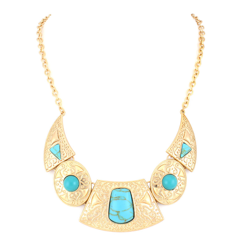 Turquoise Gold Bib Necklace