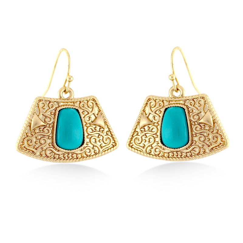 Gold-Tone Metal Turquoise Earrings