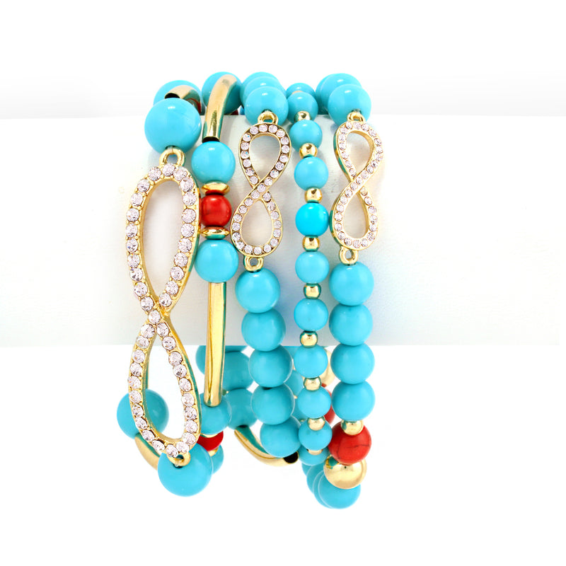 Five Row Turquoise Coral And Crystal Gold Infinity Bracelet