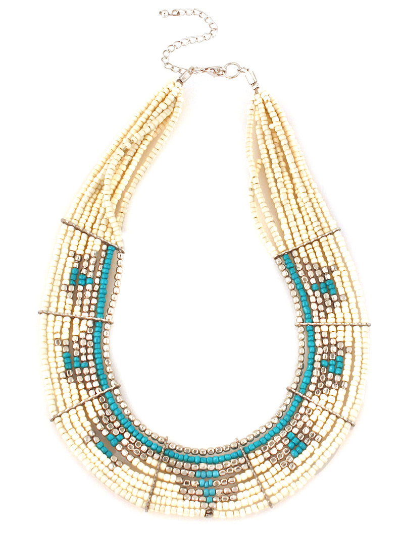 White silver and turquoise beaded indian bib necklace