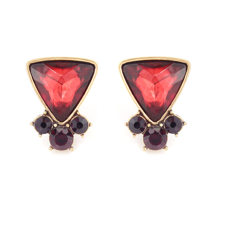 Gold Plated Oxide Red Color Glass With Amethyst Crystal Earring