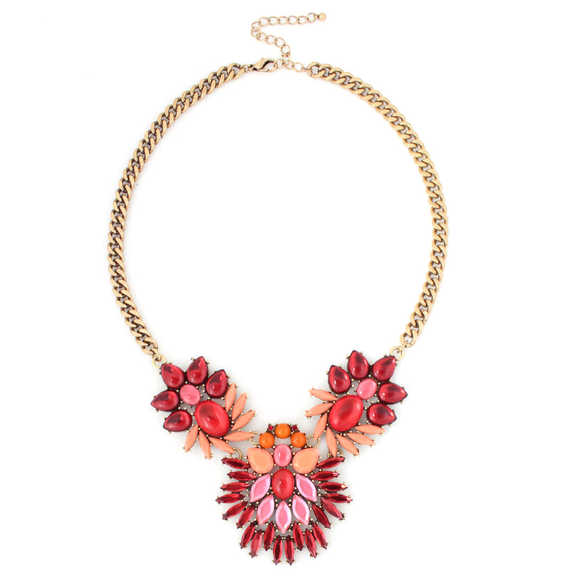 Gold Tone Metal Multi-Stones Red Crystal Necklace