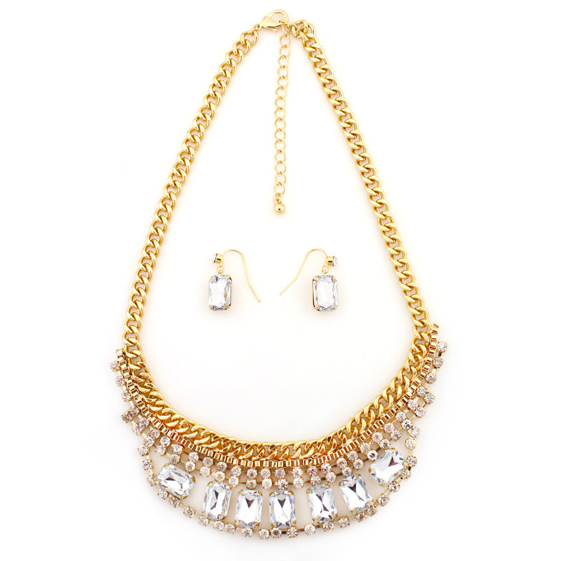 Gold-Tone Metal White Crystal Necklace And Earrings Set