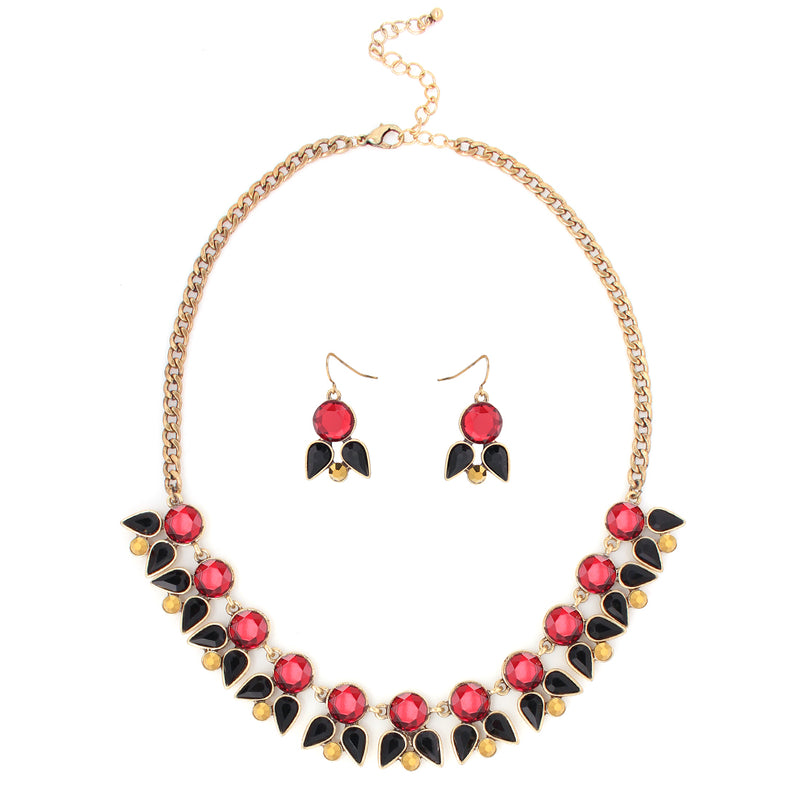 Gold Tone Metal Red And Black Necklace Earring Set