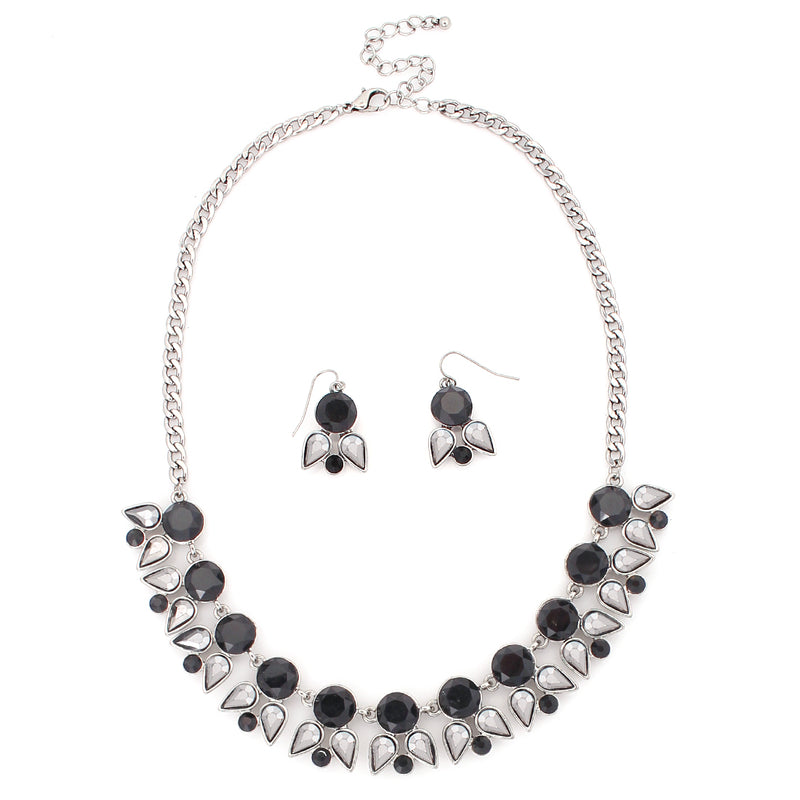 Silver Tone Black Stone With Hematite Silver Necklace Earring Set