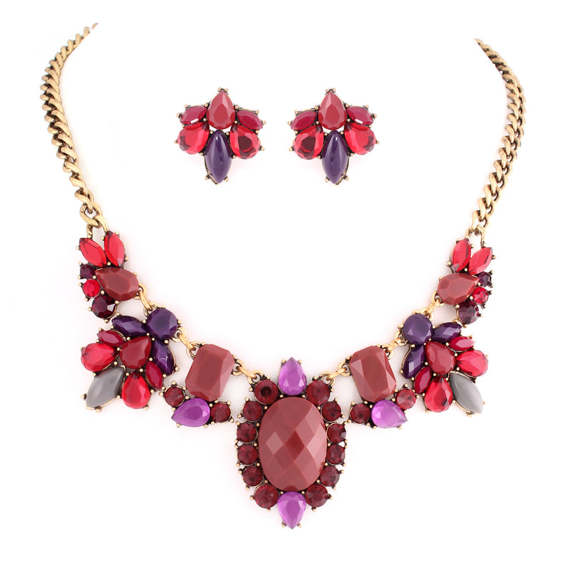 Red And Purple Ctone With Multicolor Crystal Necklace Earring Set