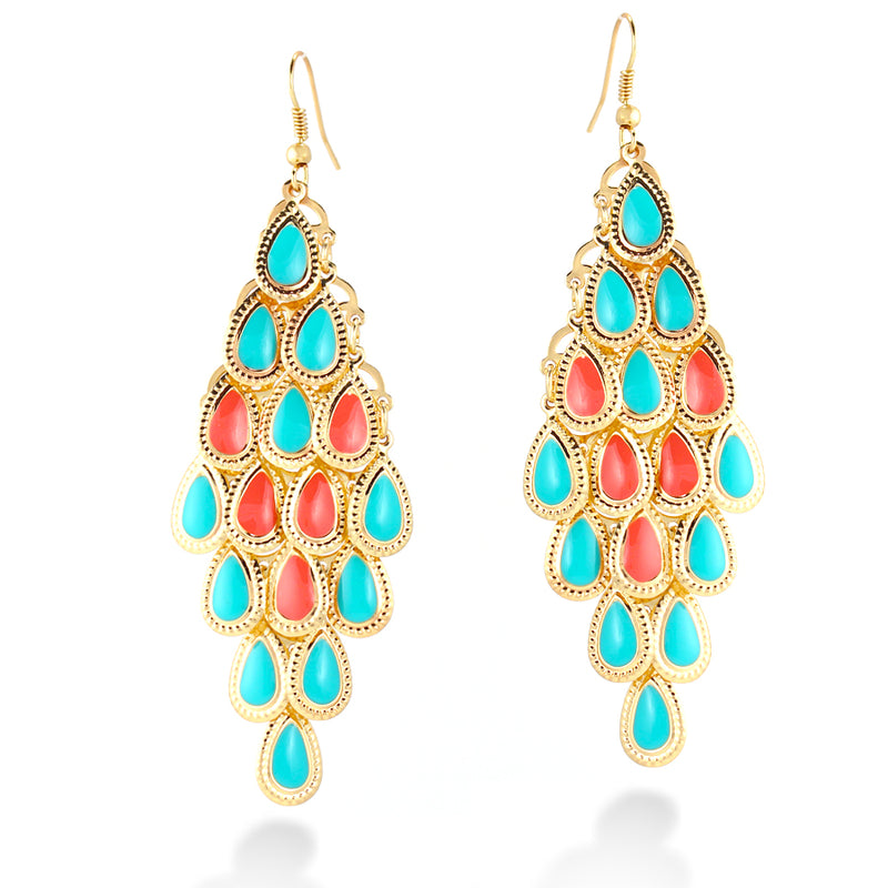 Gold Plated Turquoise And Coral Epoxy Drop Earring