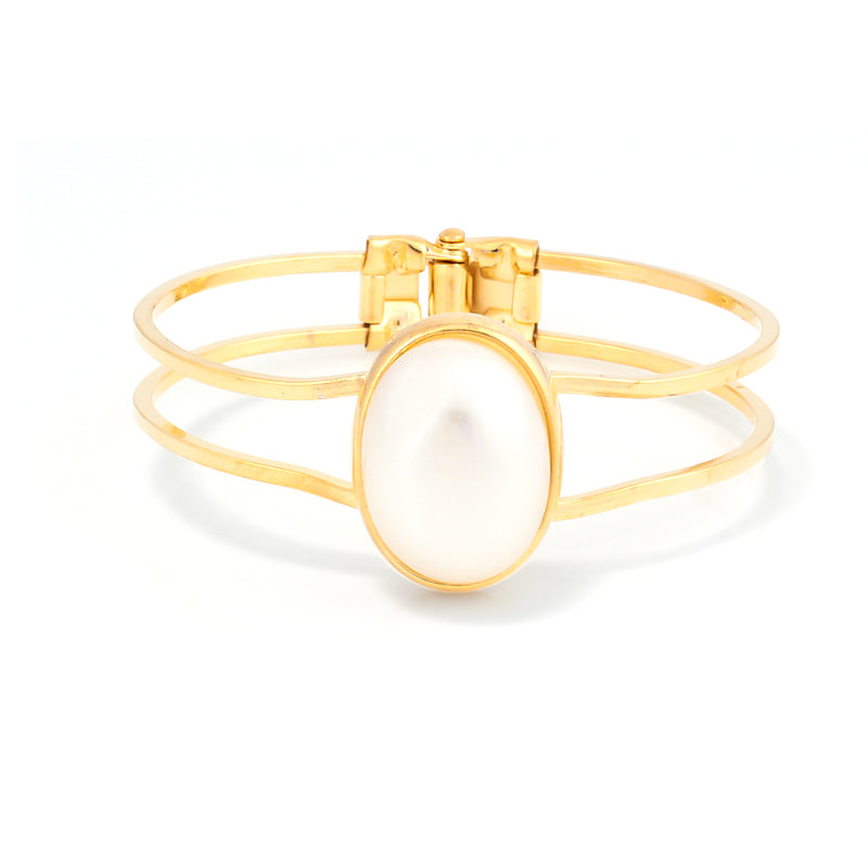 Gold Plated Pearl Hinged Bracelet