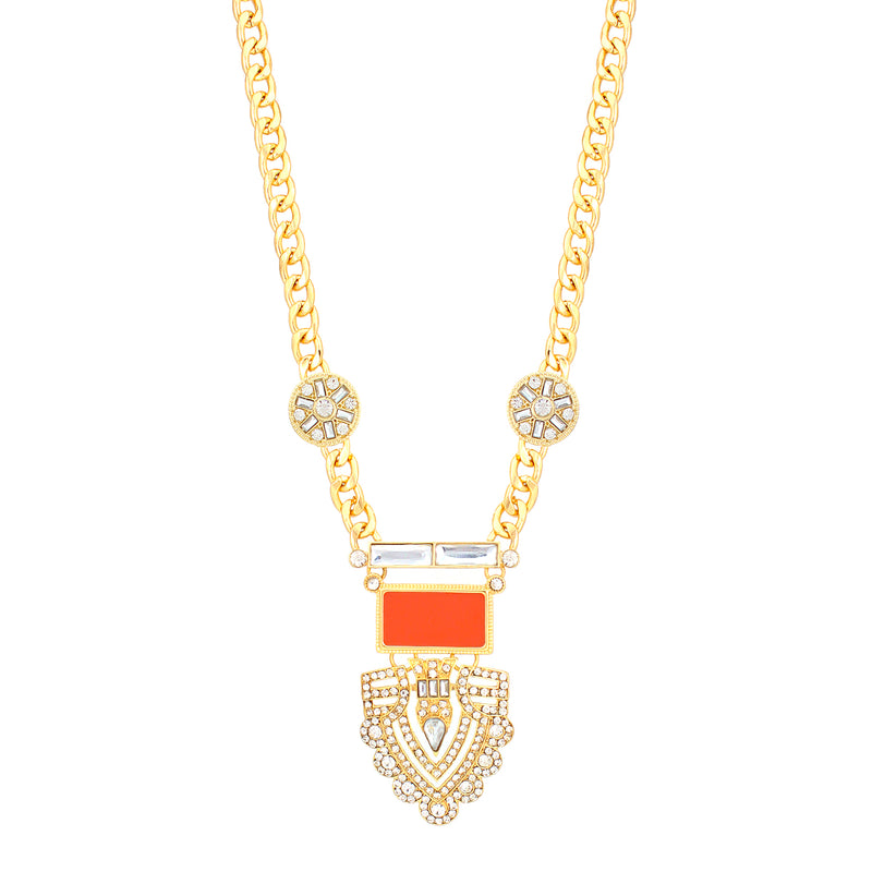 Gold-Tone Coral And White Crystal Necklace