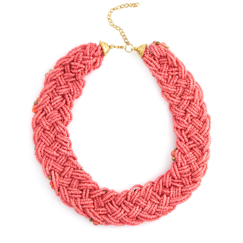 Coral And Gold Bead Necklace