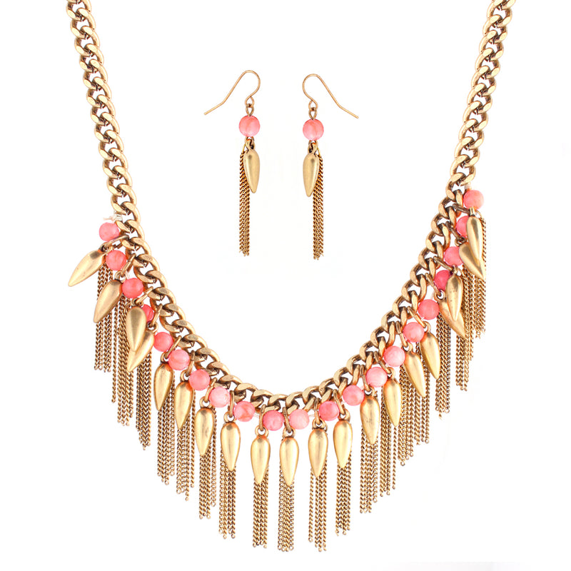 Coral Beads And Gold Spiked Chain Necklace And Earring Set