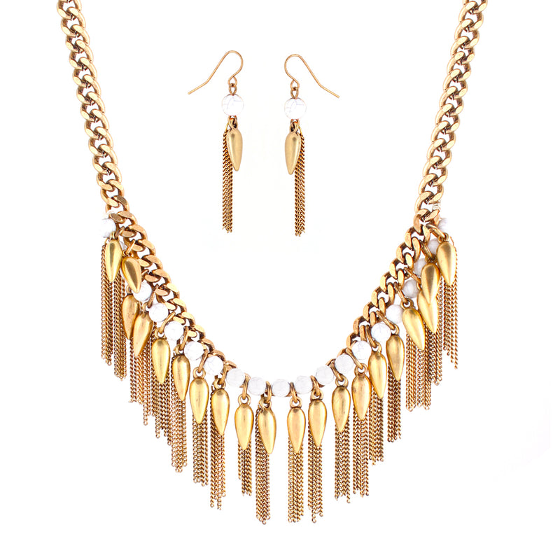 White Beads And Gold Spiked Chain Necklace And Earring Set