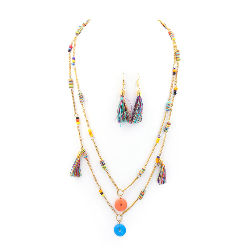 Gold-Tone Multi Color Necklace And Earrings Set