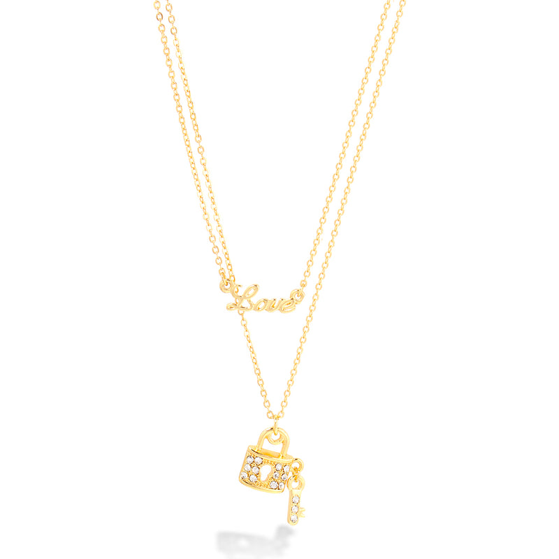 Gold Double Rows Chain With Little Lock And Love Pendant Necklace