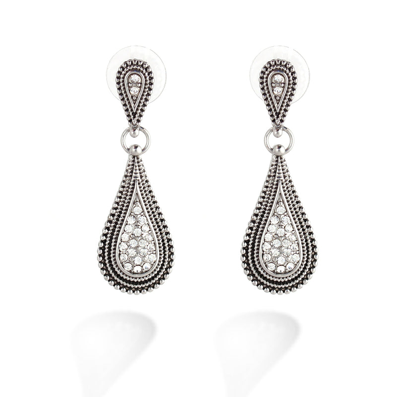 Silver Crystal Drop Shape Earring
