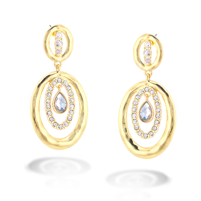 Gold And Crystal Round Drop Earrings