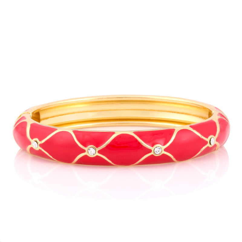 Gold-Tone Red Hinged Bangle With Stones Epoxy Design