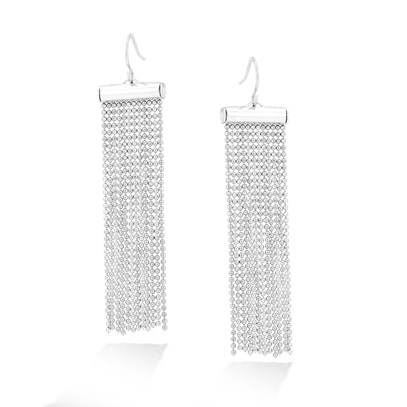 Silver-Tone 12 Row Chain Tassel Earrings