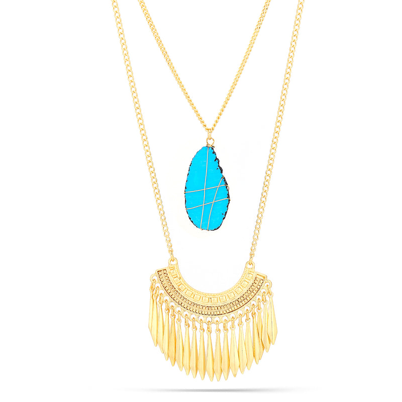 Gold-Tone Metal Turquoise Tassel Necklace