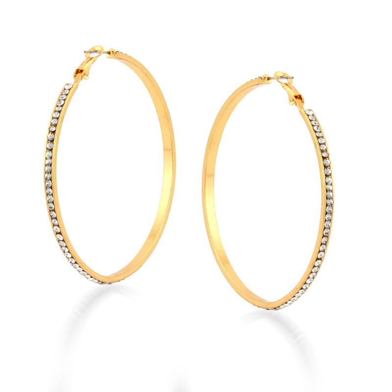 Tazza-Gold-Tone Metal Crystal Hoop Earrings