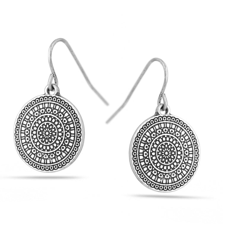 Silver-Tone Metal Round Drop Earrings