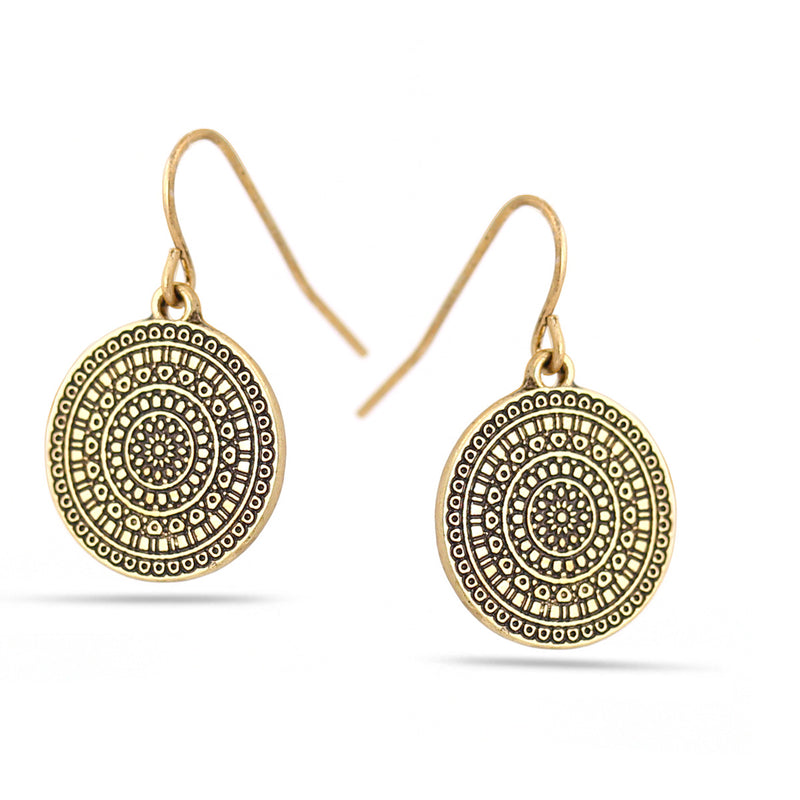Gold-Tone Metal Round Drop Earrings